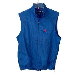 Polo Golf men's vest blue logo large zip pockets
